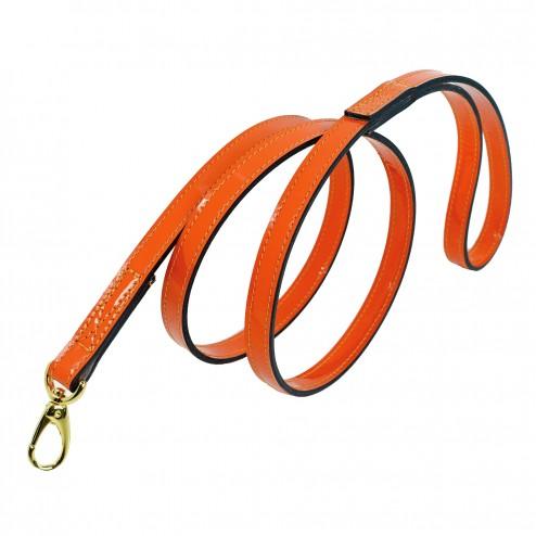 Italian Bright Orange Patent Leather & Gold