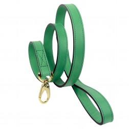 Italian Emerald Green Leather & Gold Lead