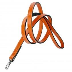 Italian Tangerine Orange Leather & Nickel Lead