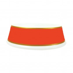 Slightly Irregular Porcelain Dog Bowl in Tangerine