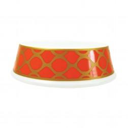 Porcelain Dog Bowl in Patterned Tangerine