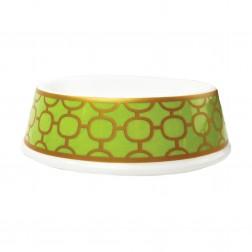 Porcelain Dog Bowl in Patterned Lime