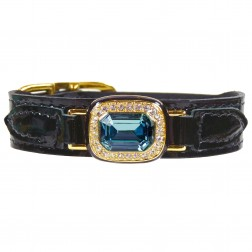 Haute Couture Octagon in Black Patent & Indian Sapphire