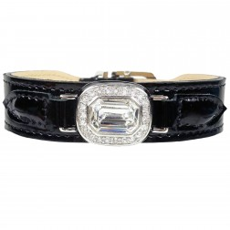 Haute Couture Octagon in Black Patent, Clear Crystal & Nickel
