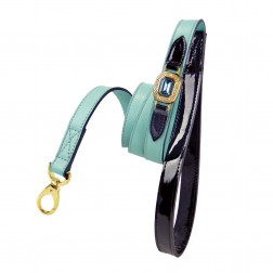 Haute Couture Octagon Lead in Turquoise & Black Patent