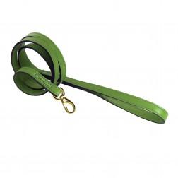 Italian Cut Grass Green Leather & Gold Lead