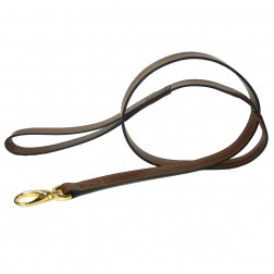 Italian Rich Brown Leather & Gold Lead