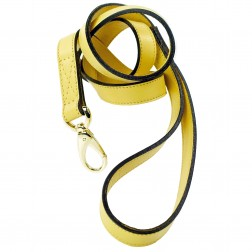 Italian Canary Yellow Leather & Gold Lead